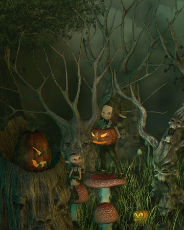 samhain: Little goblins decorating their spooky forest of twisted dead trees with pumpkin lanterns for Halloween, 3d digitally rendered illustration