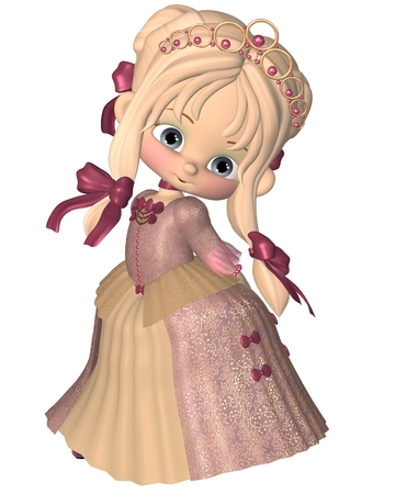 Cute little toon princess in a pink dress and gold tiara, 3d digitally rendered illustration illustration