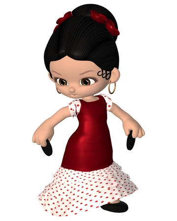 danseuse flamenco: Toon cute danseur espagnol de flamenco avec castagnettes et la robe rouge, 3d numériquement rendu illustration