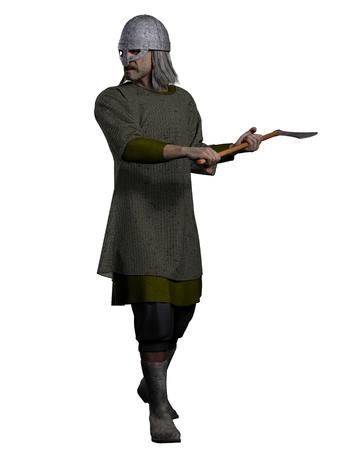 viking helmet: Illustration of an old grey-haired Viking warrior holding an axe, 3d digitally rendered illustration Stock Photo