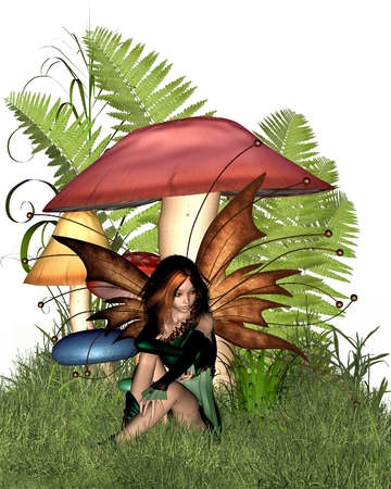 pixie: Pretty fairy sitting by woodland mushrooms or toadstools and ferns, 3d digitally rendered illustration Stock Photo