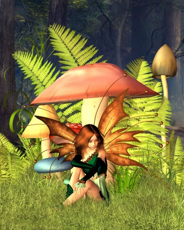 beautiful woodland: Pretty fairy sitting by woodland mushrooms or toadstools and ferns in a sunny forest glade, 3d digitally rendered illustration