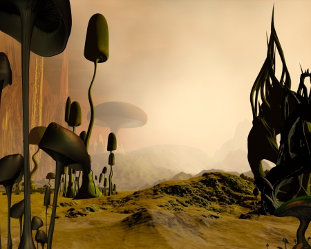 strange mountain: Alien science fiction desert landscape dotted with giant mushrooms or toadstools and twisted rock formations in the mist, 3d digitally rendered illustration