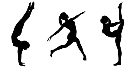 the gymnast: Silhouette illustrations of a female gymnast with a ponytail in various poses on a white background