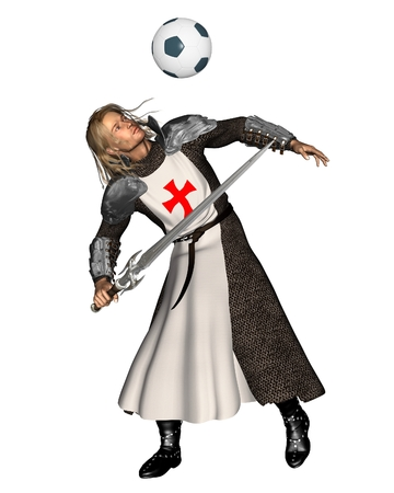 heading the ball: Illustration of St  George, the Patron Saint of England heading a football  soccer ball , 3d digitally rendered illustration