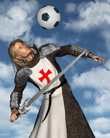 Illustration of St George, the Patron Saint of England heading a football soccer ball with blue sky background, 3d digitally rendered illustration