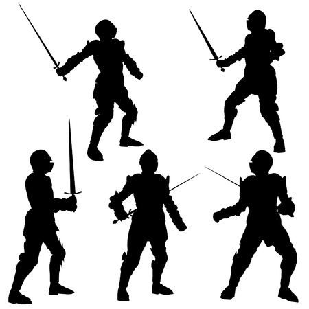 warrior pose: Silhouette illustrations of a Medieval knight in armour with a sword on a white background Stock Photo