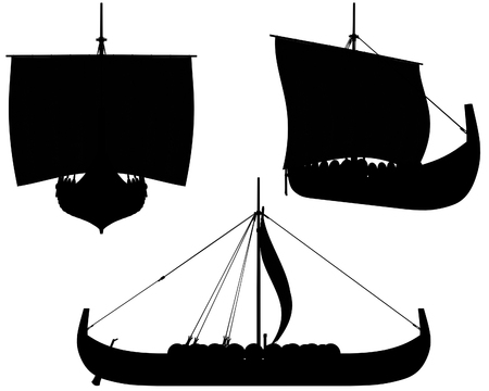 norse: Silhouette illustrations of a Viking longship under sail with shields hung along the sides Stock Photo