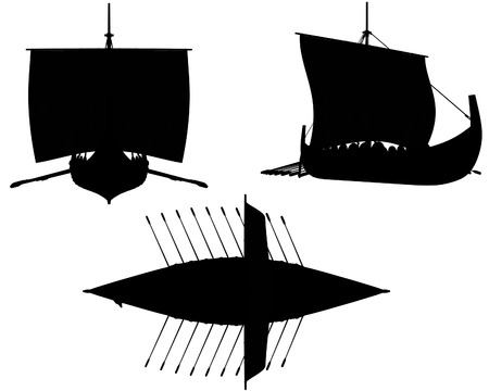 in oars: Silhouette illustrations of a Viking longship under sail with shields hung along the sides and oars extended Stock Photo