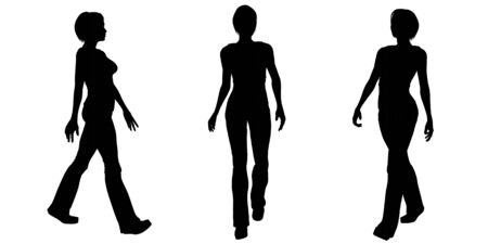 woman walking: Silhouette illustrations of a woman walking on a white background Stock Photo