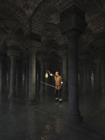 stone arch: Illustration of a Night watchman exploring dark flooded underground catacombs, 3d digitally rendered illustration Stock Photo