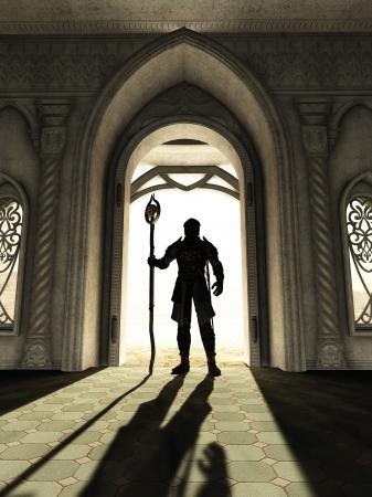 Illustratie van een Duistere Heer in de schedel pantser staande afsteekt in een heldere deuropening, 3d digitaal teruggegeven illustratie