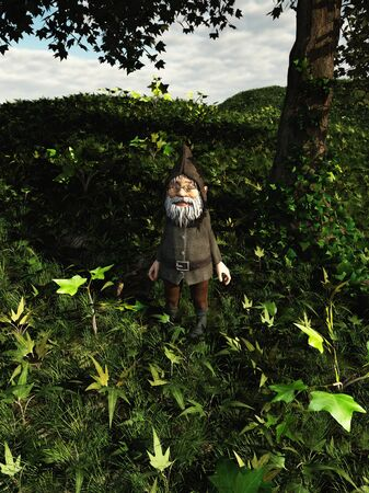 clearing: Small Gnome character with beard and pointed hood standing in the ivy on a forest floor, 3d digitally rendered illustration