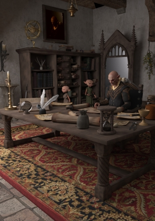 alchemist: Goblin Alchemist and servants in his study, 3d digitally rendered illustration Stock Photo