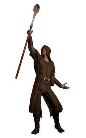 summoning: Illustration of a fantasy style magician in leather clothing holding a magic summoning staff and casting a spell, 3d digitally rendered illustration Stock Photo