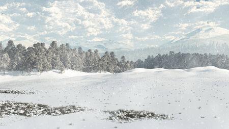 Distant woodland in winter snow, 3d digitally rendered illustration Stock fotó