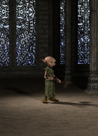 goblin: Goblin servant girl with a broom sweeping the great hall, 3d digitally rendered illustration