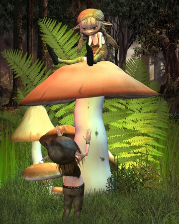 Two cute little goblins or imps playing on a mushroom in a sunny woodland glade, 3d digitally rendered illustration illustration