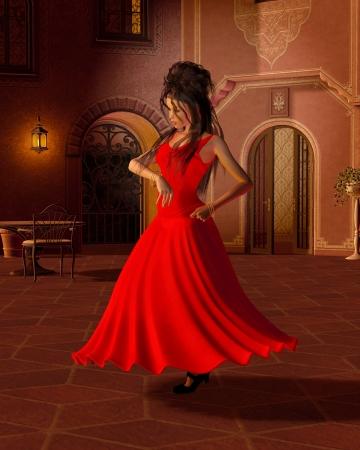 夕方には、3 d デジタル スペイン風の中庭で踊る赤いドレスの若いフラメンコ ダンサーの図描画図