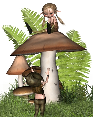 fey: Two cute little goblins or imps playing on a mushroom, 3d digitally rendered illustration