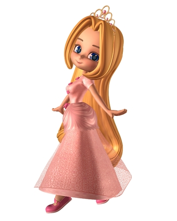 Pretty toon fairytale princess, dressed in pink with a gold tiara, 3d digitally rendered illustration Foto de archivo