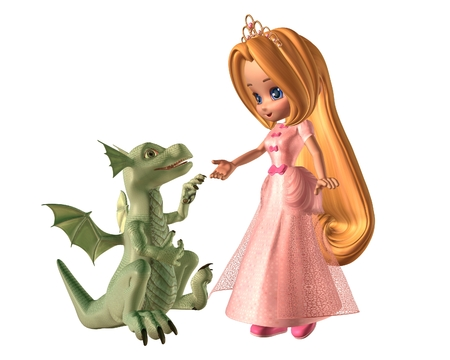 Pretty toon fairytale princess and her pet baby dragon, 3d digitally rendered illustration