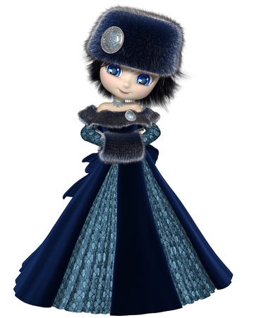 muff: Pretty dark haired toon princess wearing a blue dress and winter furs, 3d digitally rendered illustration Stock Photo