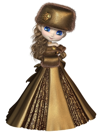 Pretty blonde toon princess wearing a gold dress and winter furs, 3d digitally rendered illustration