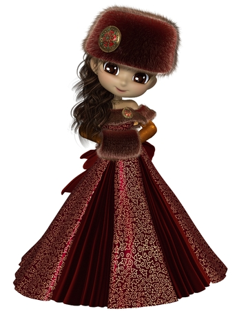 toon: Pretty dark haired toon princess wearing a red dress and winter furs, 3d digitally rendered illustration