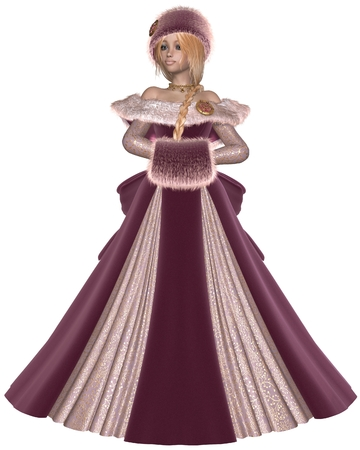 muff: Illustration of a Pretty blonde princess wearing a pink dress and winter furs, 3d digitally rendered illustration