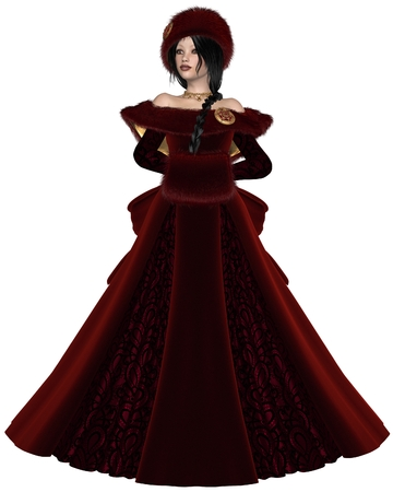 woman fur: Illustration of a Pretty dark haired princess wearing a red dress and winter furs, 3d digitally rendered illustration Stock Photo