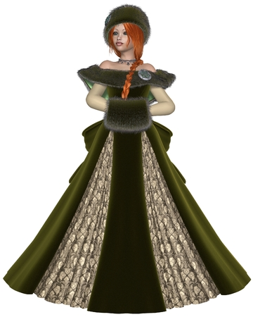 woman fur: Illustration of a Pretty red haired princess wearing a green dress and winter furs, 3d digitally rendered illustration