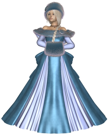 muff: Illustration of a Pretty blonde princess wearing a blue dress and winter furs, 3d digitally rendered illustration Stock Photo