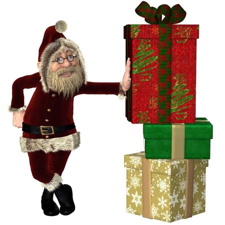 velvet ribbon: Happy Santa Claus leaning on a pile of Christmas presents, 3d digitally rendered illustration