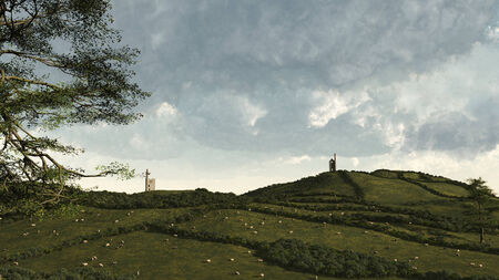 ruined: Illustration of a rural landscape in Cornwall, England showing the county s industrial past and mining hertiage in the ruined mine engine houses surrounded by fields of grazing sheep