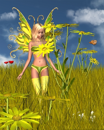 cornfield: Illustration of a Corn Marigold Fairy and flower in a sunny summer field, 3d digitally rendered illustration Stock Photo