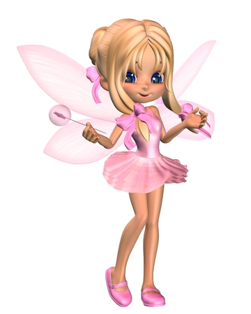 gossamer: Cute toon ballerina fairy in a pink tutu with gossamer wings and a wand, standing, 3d digitally rendered illustration