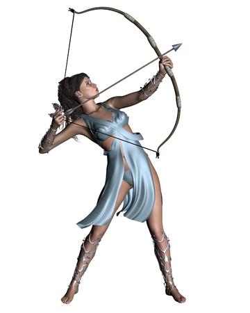고대 그리스 신화에서 다이아나 고대 로마 사냥의 여신, 또는 아르테미스의 그림, 디지털 그림 렌더링 된 3D 스톡 콘텐츠