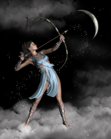 Illustration of Diana the Ancient Roman Goddess of the hunt, or Artemis in Greek classical mythology, in a night sky with stars and crescent moon, 3d digitally rendered illustration