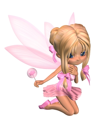 gossamer: Cute toon ballerina fairy in a pink tutu with gossamer wings and a wand, kneeling down, 3d digitally rendered illustration Stock Photo