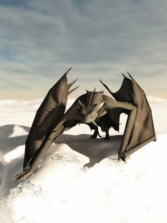 stalking: Grey scaled dragon prowling through a snowy winter landscape, 3d digitally rendered illustration Stock Photo