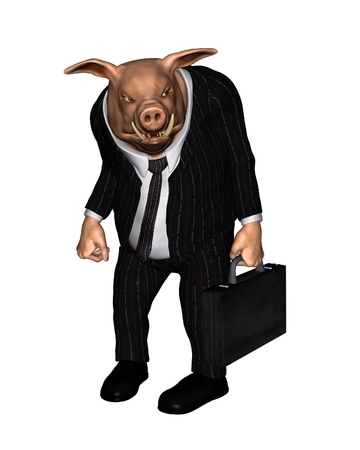 hunched: Angry pig dressed as a businessman and carrying a briefcase, 3d digitally rendered illustration Stock Photo