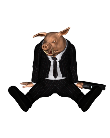 pig nose: Angry pig dressed as a businessman and carrying a briefcase sitting on the floor, 3d digitally rendered illustration