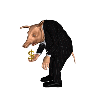 pig nose: Pig dressed as a business man with a worried expression holding a small gold dollar sign, 3d digitally rendered illustration