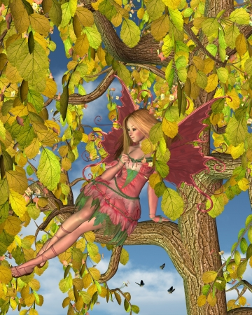 Illustration of a Pretty blonde fairy sitting in a blossom-covered spring tree, 3d digitally rendered illustration illustration