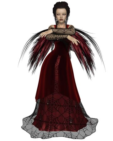 Illustration of a Gothic style fairy with tattered red wings and a red dress with cobweb lace, 3d digitally rendered illustration