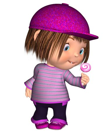 toon: Cute toon kid dressed in pink standing holding a lollipop, 3d digitally rendered illustration