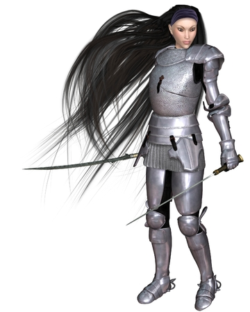 elven: Illustration of a Female Elf warrior in shining silver armour with twin swords