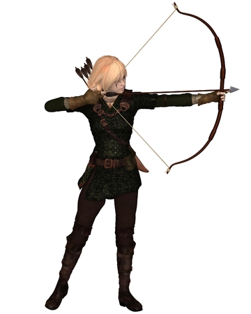 Illustration of a Blonde female archer with bow and arrow taking a standing shot Foto de archivo