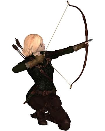 Illustratie van een blonde vrouwelijke schutter met pijl en boog het nemen van een knielende schot Stockfoto